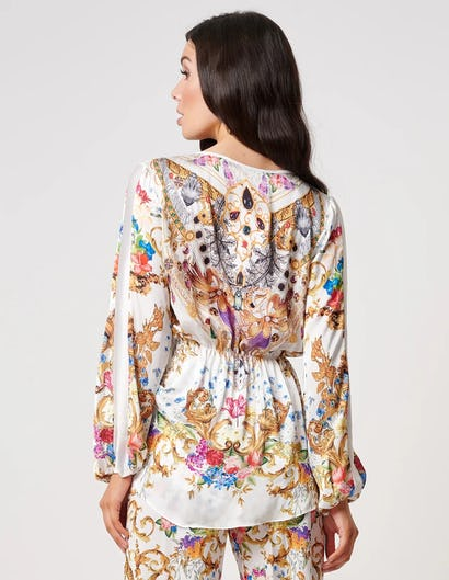 White and Gold Baroque Print Chiffon Top