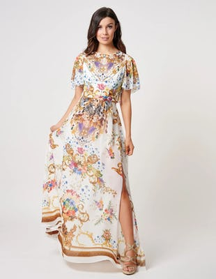 White and Gold Baroque Print Beach Maxi Dress