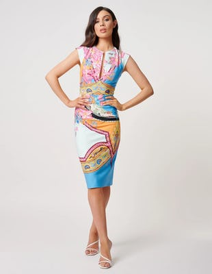 Multi-Coloured Paisley Print Midi Dress with Front Plunge Detailing