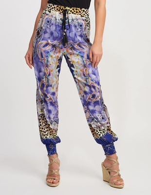 Purple Multi Print Beach Trousers with Elasticated Ankle Cuffs