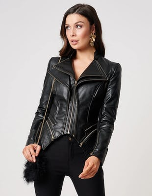 Black PU Snake Print Biker Jacket With Exaggerated Zip Detail