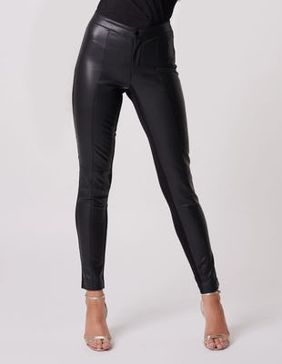 Black Faux Leather Contrast Stretch Jeggings