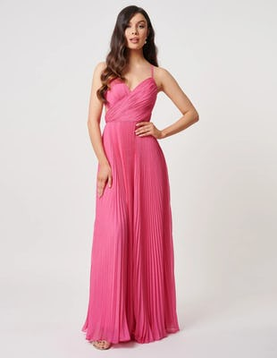 Fuchsia Pleated Maxi Dress with Cross Bodice Detailing