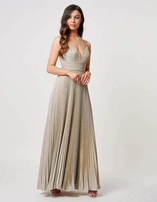 Gold Glittered Pleated Maxi Dress