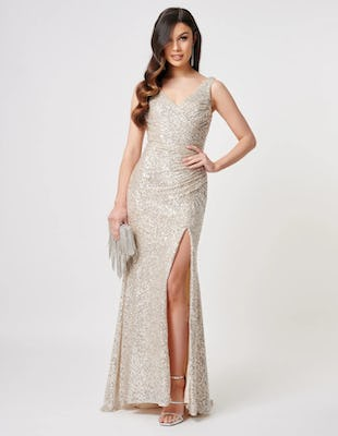 Silver Sequin Thigh Split Maxi Dress