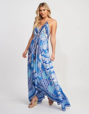 Blue and White Aztec Print Asymmetric V-Neck Maxi Dress