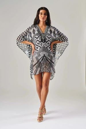 Black and White Geometric Print Kaftan