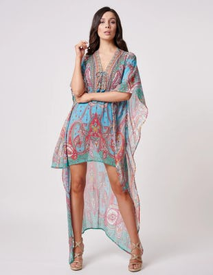Turquoise and Orange Paisley Print Kaftan