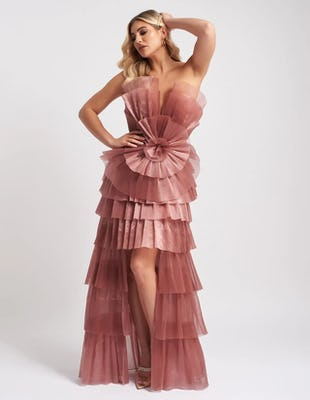 Blush Pink Statement Tiered Pleated Maxi Dress