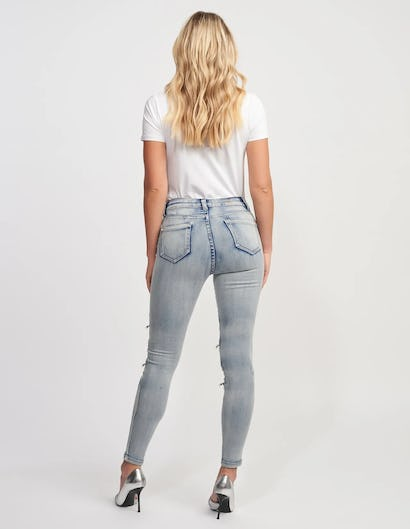 Blue Washed Denim Skinny Jeans with Zip Detailing