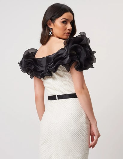 Ivory and Black Bodycon Midi Dress with Ruffle Frill