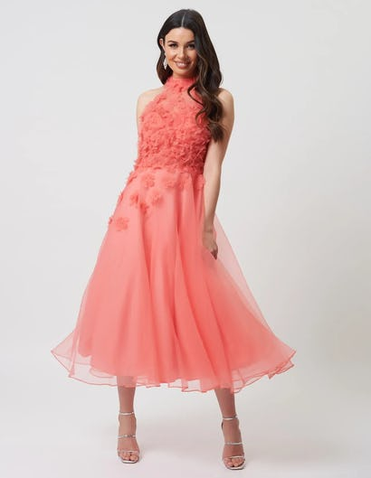 Coral Textured Organza Maxi Dress with Floral Embellishments