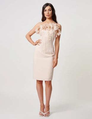 Nude Strapless Midi Dress with Jewelled and Floral Embellishment