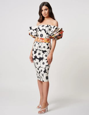 Ivory and Black Floral Off the Shoulder Midi Dress