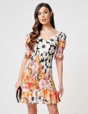 Ivory and Black Floral Shirring Mini Dress