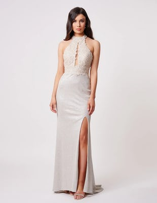 Champagne Halter Neck Maxi Dress with Lace Detailing