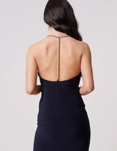 Navy Plunging Maxi Dress with Chain Detail