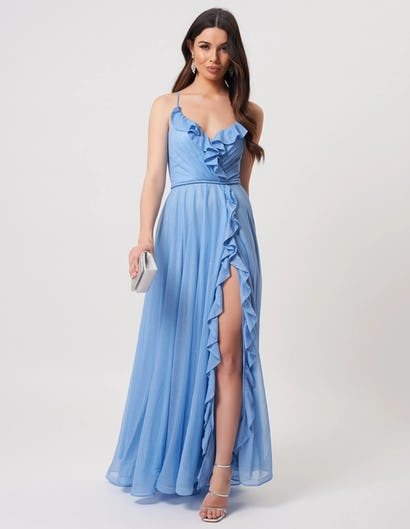 Pale Blue Ruffle Detail Maxi Dress with Slit