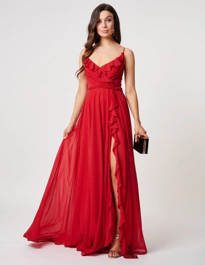 Red Ruffle Detail Maxi Dress with Thigh Slit