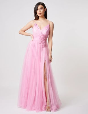 Pink Tulle Maxi Gown with Floral Beading