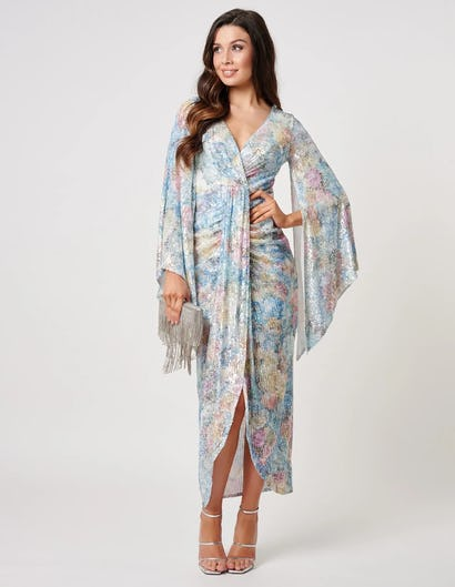 Multi Coloured Ruched Sequined Midaxi Dress with Batwing Details