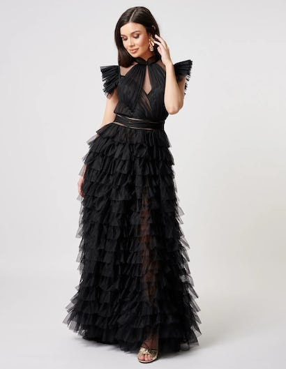 Black Exaggerated Ruffle Dramatic Maxi Gown