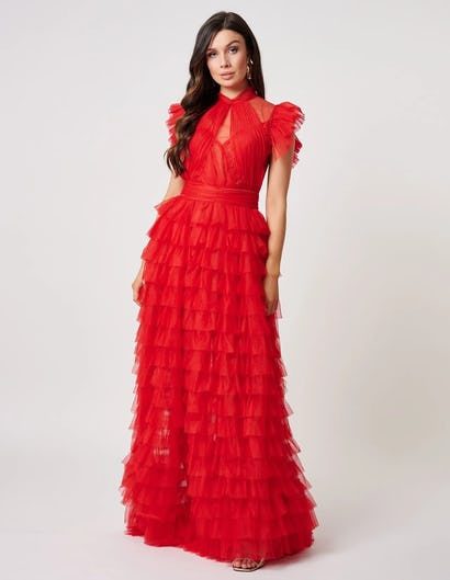 Red Exaggerated Ruffle Dramatic Maxi Gown