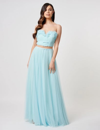 Aqua Floral Applique Top and Tulle Skirt Co-Ord