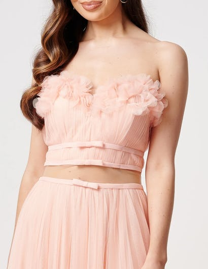 Peach Floral Applique Top and Tulle Skirt Co-Ord