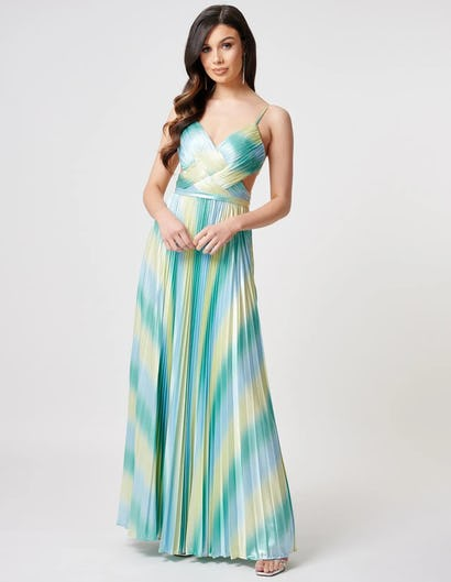 Turquoise and Lime Pleated Maxi Dress