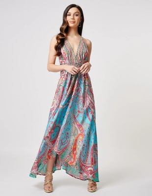 Turquoise and Orange Paisley Print V-Neck Beach Maxi Dress
