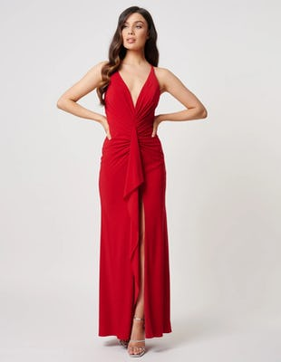 Red Ruched Ruffle Maxi Dress with Thigh Split