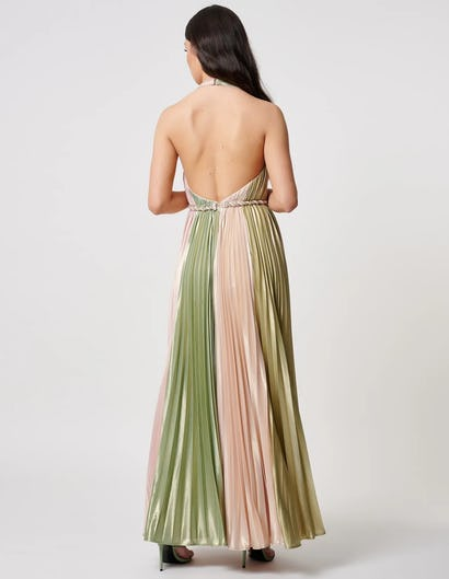 Green and Pink Metallic Pleated Maxi Dress with Thigh Split