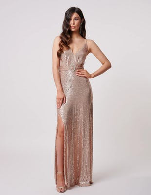 Rose Gold Sequin Split Midi Dress