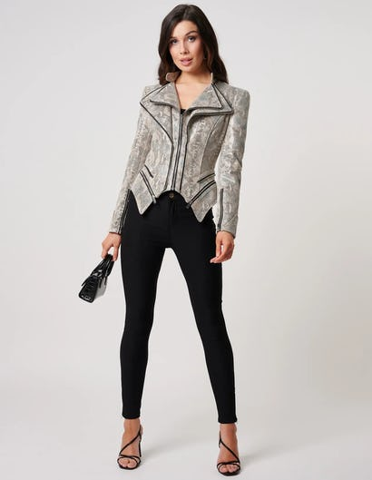 Grey Snake Print Faux Leather Jacket with Zip Detailing