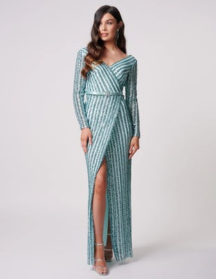 Turquoise Striped Long Sleeve Sequined Maxi Dress