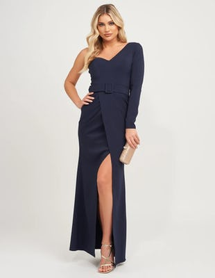 Navy One Shoulder Asymmetric Maxi Dress