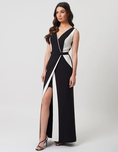 Black and White Plunging Wrap Maxi Dress with Plunging Neckline