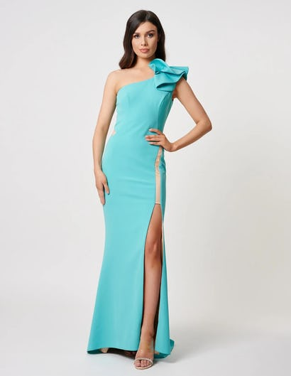 Turquoise One-Shoulder Maxi Dress with Thigh Split