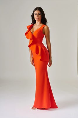 Coral Crepe Frill Dress