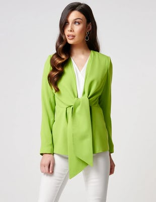 Lime Green Tie-Waist Blazer Jacket