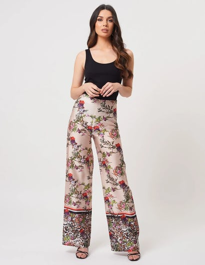 Beige Floral Print Wide Leg Trousers