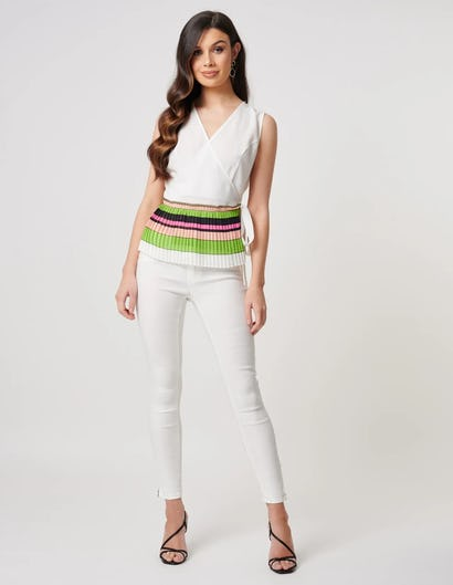 White Pleated Wrap Top with Tie Waist Belt