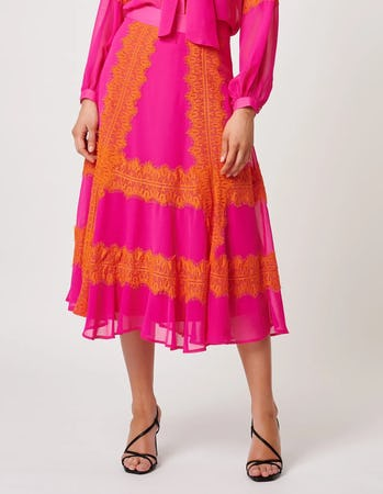 Fuchsia and Orange Lace Embellished Midi Skirt