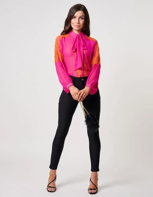Fuchsia and Orange Pussybow Blouse