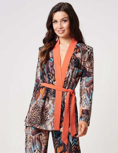 Tropical Jungle Blazer Wrap Jacket