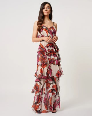 Orange and Fuchsia Floral Maxi Dress