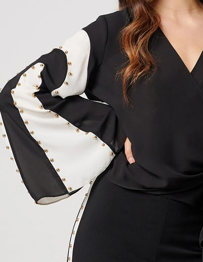 Black and White Wrap Blouse with Floaty Sleeves