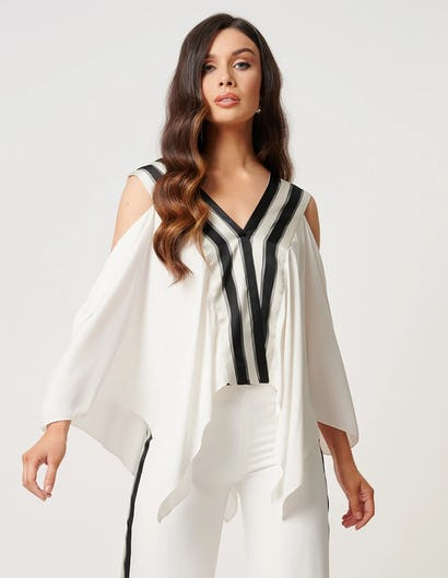 White Cold-Shoulder Striped Collar Blouse