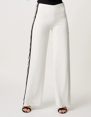 White Wide Leg Trousers with Striped Panels